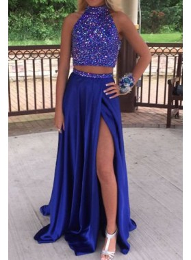 LadyPromDress 2020 Blue Beading High-Slit Stretch Satin Two Pieces Prom Dresses