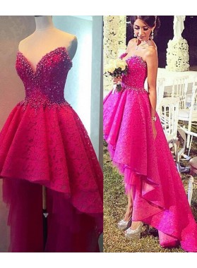 Beading High-Low A-Line/Princess Lace Prom Dresses