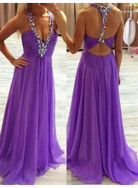 Ruching Beading Straps Floor-Length/Long Chiffon Prom Dresses
