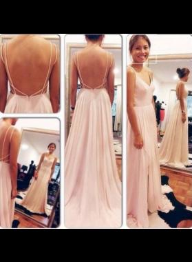 Spaghetti Straps A-Line/Princess Chiffon Prom Dresses