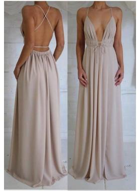 Spaghetti Straps Floor-Length/Long A-Line/Princess Chiffon Prom Dresses