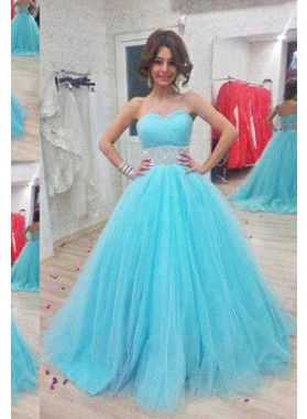 LadyPromDress 2019 Blue Sweetheart Ball Gown Tulle Prom Dresses