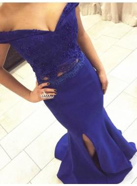 Royal Blue Beading Appliques Off-the-Shoulder Satin Prom Dresses
