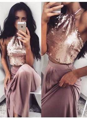 Halter A-Line/Princess Sequined Prom Dresses