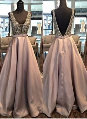 A-Line/Princess V-Neck Sleeveless Natural Backless Satin Lilac Prom Dresses