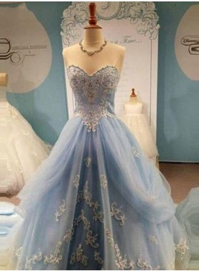A-Line/Princess Sweetheart Floor-Length/Long Tulle with Appliques LadyPromDress 2019 Blue Prom Dresses