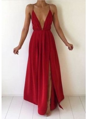 2019 Gorgeous Red A-Line/Princess Sleeveless Natural Backless Floor-Length/Long Chiffon Prom Dresses