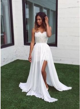 2019 Unique White A-Line/Princess Sweetheart  Spaghetti Straps Lace Spliced Chiffon Prom Dresses