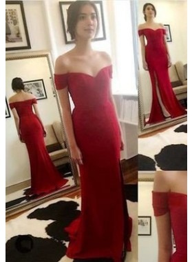 2019 Gorgeous Red Mermaid/Trumpet Off-the-Shoulder Sweep Train Prom Dresses