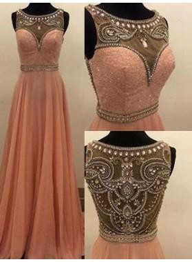 A-Line/Princess Sleeveless Natural Sweep/Brush Train Chiffon 2019 Glamorous Pink Prom Dresses