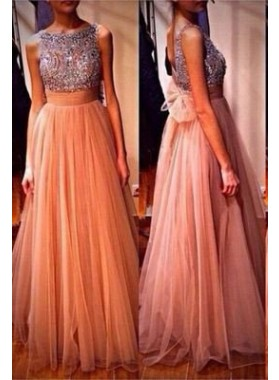 Column/Sheath Jewel Sleeveless Floor-Length/Long Chiffon Prom Dresses