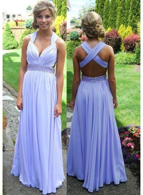A-Line/Princess Sleeveless Natural Backless Floor-Length/Long Chiffon Lavender Prom Dresses