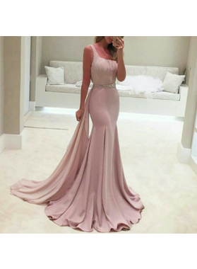 Beading Sweep Train A-Line/Princess Stretch Satin 2019 Glamorous Pink Prom Dresses