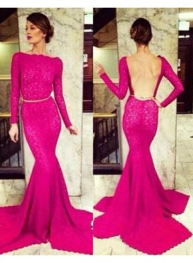 Beading Long Sleeve Mermaid/Trumpet Satin Prom Dresses