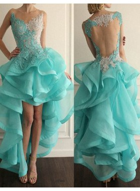 Appliques Cascading Sheer Back High-Low Organza LadyPromDress 2019 Blue Prom Dresses