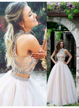 2019 Unique White High Neck Ball Gown Tulle Two Pieces Prom Dresses