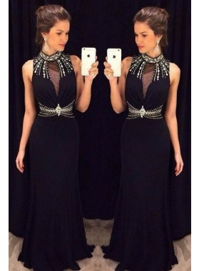 2019 Junoesque Black Beading High Neck Column/Sheath Chiffon Prom Dresses