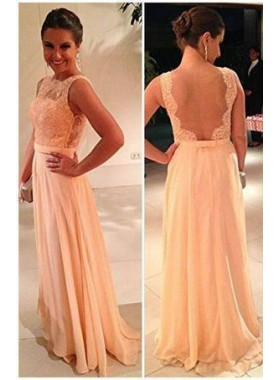 Column/Sheath Scalloped Sleeveless Backless Floor-Length/Long Chiffon Prom Dresses