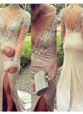 A-Line/Princess V-Neck Long Sleeve Backless Sweep/Brush Train nude Prom Dresses