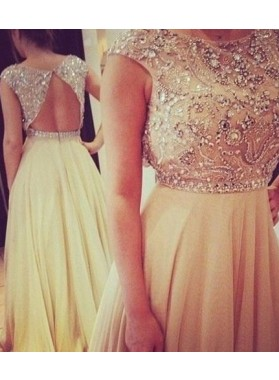 A-Line/Princess Sleeveless Empire Backless Floor-Length/Long Chiffon Champagne Prom Dresses