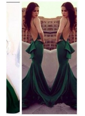 Mermaid/Trumpet Halter Sleeveless Empire Backless Court Train Satin Prom Dresses