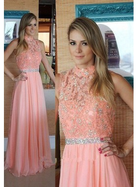 A-Line/Princess High Neck Sleeveless Floor-Length/Long Chiffon 2019 Glamorous Pink Prom Dresses
