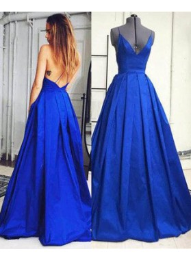 Royal Blue A-Line/Princess Sleeveless Natural Backless Floor-Length/Long Prom Dresses