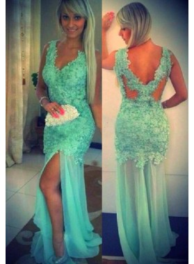 LadyPromDress 2019 Blue Mermaid/Trumpet V-Neck Sleeveless Natural Appliques Tulle Prom Dresses