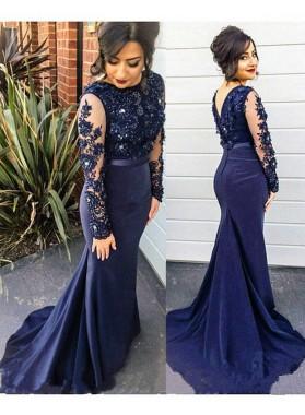 LadyPromDress 2019 Blue Mermaid/Trumpet Long Sleeve Backless Appliques Satin Prom Dresses