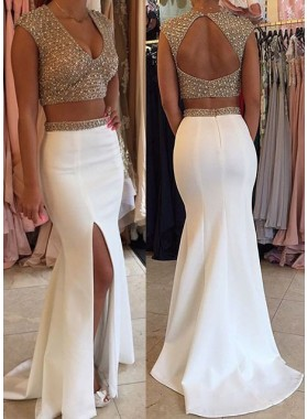 2019 Unique White Mermaid/Trumpet V-Neck Sleeveless Backless Sweep Train Satin Prom Dresses