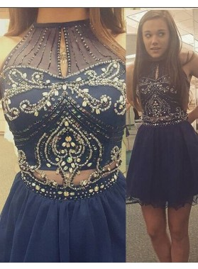 LadyPromDress 2019 Blue Beading High Neck Zipper Short Prom Dresses