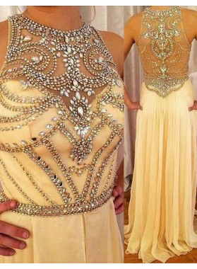 A-Line/Princess Jewel Sleeveless Natural Zipper Floor-Length/Long Chiffon Champagne Prom Dresses