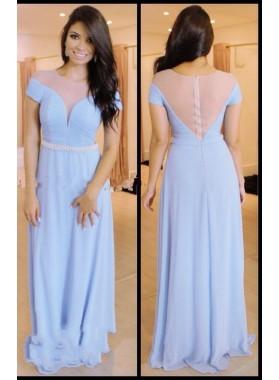 LadyPromDress 2019 Blue Beading Sheer Short Sleeves Chiffon Prom Dresses