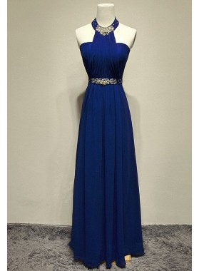 LadyPromDress 2019 Blue Beading Halter A-Line/Princess Chiffon Prom Dresses