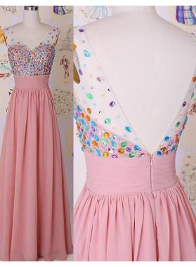 Crystal A-Line/Princess Chiffon Prom Dresses