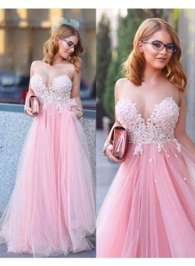Appliques Sweetheart A-Line/Princess Tulle 2019 Glamorous Pink Prom Dresses
