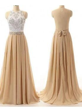 Appliques Pleats A-Line/Princess Chiffon Prom Dresses