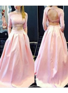 Beading 2019 Glamorous Pink Long Sleeve A-Line/Princess Satin Two Pieces Prom Dresses