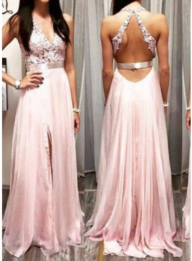 Appliques Front-Slit Chiffon Prom Dresses 2019 Glamorous Pink