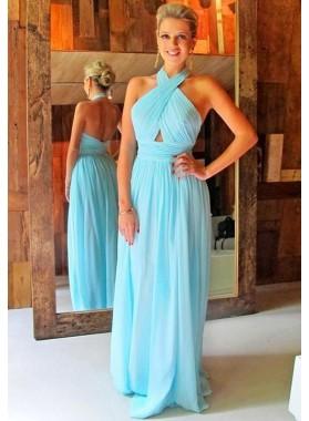 LadyPromDress 2019 Blue Ruching Halter Chiffon Prom Dresses