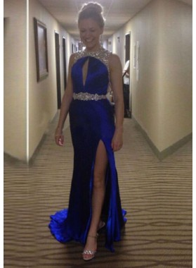 Royal Blue Mermaid/Trumpet Jewel Sleeveless Natural Backless Floor-Length/Long Prom Dresses