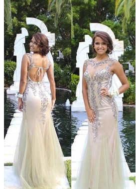Mermaid/Trumpet Sleeveless Natural Backless Floor-Length/Long Tulle ivory Prom Dresses