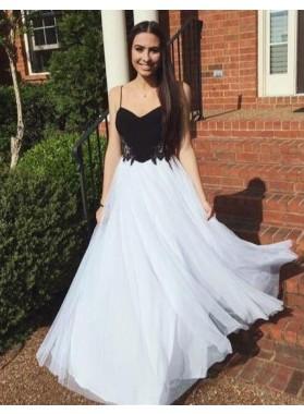 A-Line/Princess Spaghetti Straps Sleeveless Natural Zipper Tulle 2019 Unique White Prom Dresses