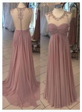 A-Line/PrincessSleeveless Natural Zipper Sweep/Brush Train Chiffon Prom Dresses