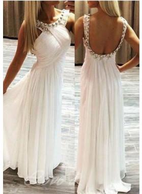 2019 Unique White A-Line/Princess Bateau Sleeveless Backless Floor-Length/Long Chiffon Prom Dresses