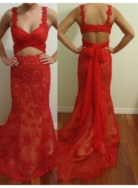 2019 Gorgeous Red Ruching Bow Straps Lace Prom Dresses