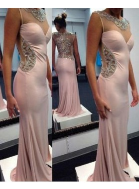 Column/Sheath V-Neck Sleeveless Sweep/Brush Train Prom Dresses