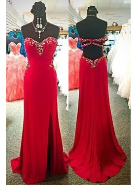 2019 Gorgeous Red A-Line/Princess Sweetheart Sleeveless Natural Backless Prom Dresses