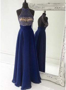 LadyPromDress 2019 Blue A-Line/Princess Halter Sleeveless Natural Backless Floor-Length/Long Chiffon Prom Dresses
