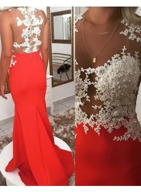 2019 Gorgeous Red Mermaid/Trumpet Sleeveless Natural Zipper Sweep/Brush Train Prom Dresses